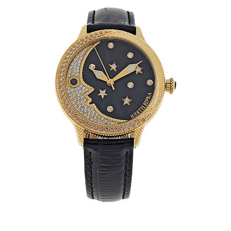 Judith Ripka Pavé CZ Moon Watch with Colored Leather Strap