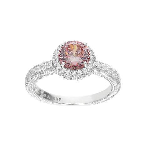 Judith Ripka Simulated Pink Morganite and Diamonique® Halo Ring