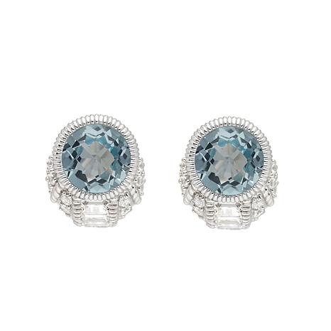 Judith Ripka Sterling Silver Blue Topaz and Diamonique® Earrings