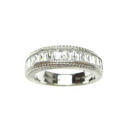 Judith Ripka Sterling Silver Diamonique® Baguette Band Ring