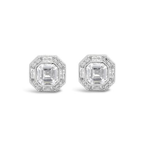 Judith Ripka Sterling Silver Diamonique® Estate Button Earrings