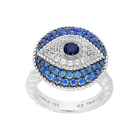 Judith Ripka Sterling Silver Diamonique® Evil Eye Ring