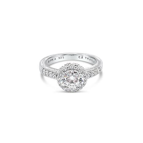 Judith Ripka Sterling Silver Diamonique® Halo Ring