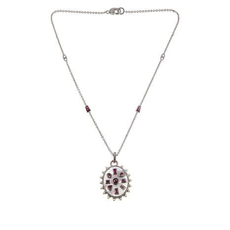 Judith Ripka Sterling Silver Multi-Gemstone Oval Pendant with Chain