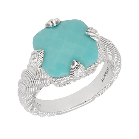 Judith Ripka Sterling Silver Turquoise and Diamonique® Cocktail Ring