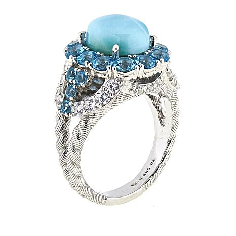 29bc76f86 Judith Ripka Swiss Blue Topaz and Larimar Sterling Silver Ring - 8864924 |  HSN