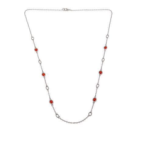 "Judith Ripka Verona Collection Gemstone and Oval Link 36"" Necklace"