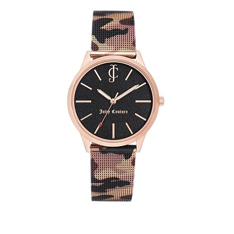 Juicy Couture Black Dial Camouflage Mesh Bracelet Watch
