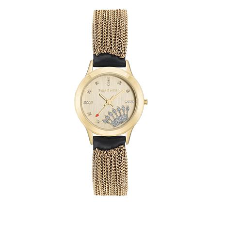 Juicy Couture Champagne Dial Black Leather and Tassel Accent Watch
