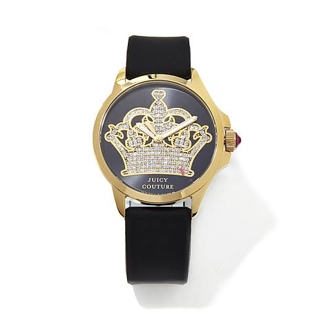 Juicy Couture Glitter Crown Logo Dial Black Strap Watch