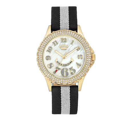 Juicy Couture Goldtone Dial Black-and-White Strap Watch