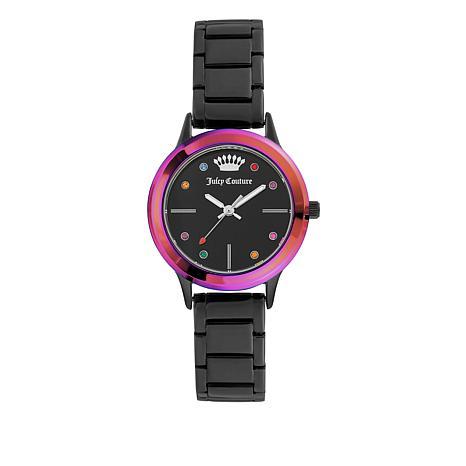 Juicy Couture Rainbow Bezel Color Crystal Marker Black Bracelet Watch