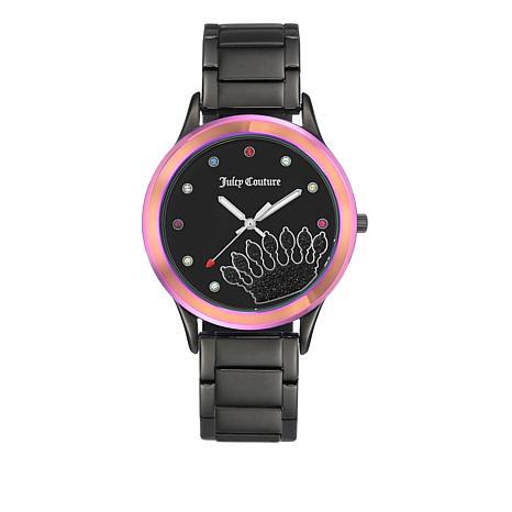 Juicy Couture Rainbow Bezel Juicy Logo Black Bracelet Watch
