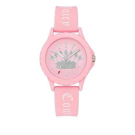 Juicy Couture Women's Light Pink Logo Strap Sparkle Crown Watch