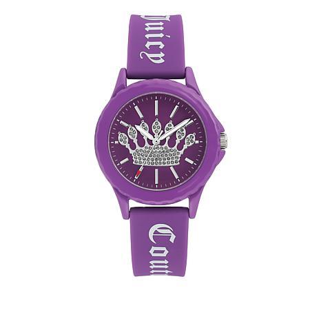 Juicy Couture Women's Purple Logo Strap Sparkle Crown Watch