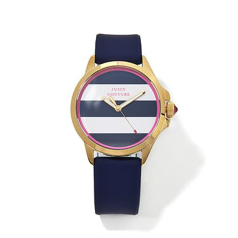 Juicy Goldtone Bezel Navy & White Striped Dial Watch