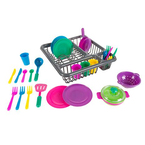 Kids Play Dish Set  27 Piece Tableware Dish Set with Dish Drainer b...