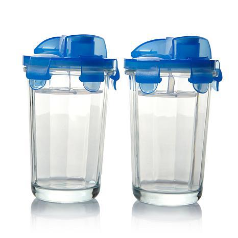 Kinetic Glasslock 17oz Blue Elements Shaker w/Lid 2pk