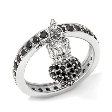 King Baby Jewelry .91ctw CZ Crowned Heart Charm Ring