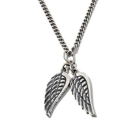 """King Baby Jewelry Double Wing Pendant with 24"""" Chain"""
