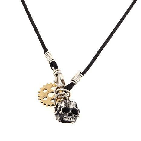"""King Baby Jewelry Skull and Gear Charm 22"""" Necklace"""