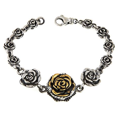 King Baby Jewelry Sterling Silver And Goldtone Rose Bracelet