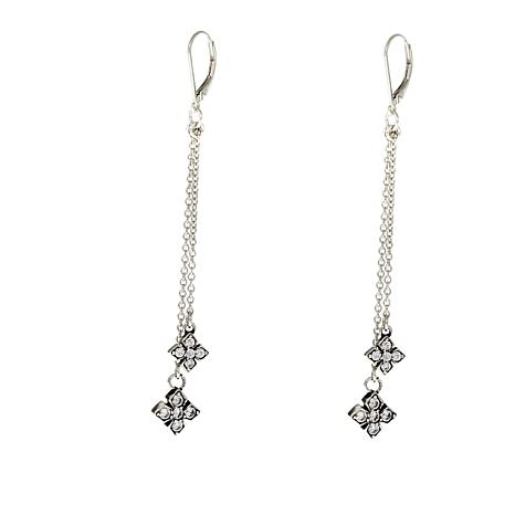 King Baby Sterling Silver 0 8ctw Cz Cross Dangle Earrings