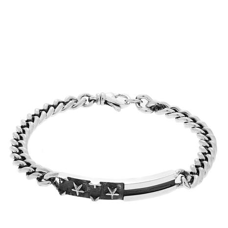 "King Baby Sterling Silver Flag ID 8-1/2"" Bracelet"