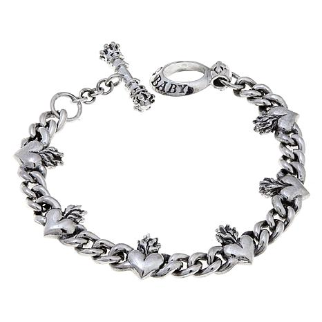 King Baby Sterling Silver Heart Toggle Bracelet