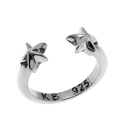 King Baby Sterling Silver Open Star Midi Ring