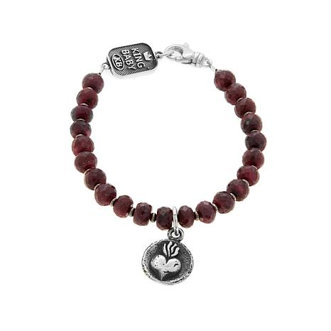 King Baby Sterling Silver Ruby Crowned Heart Bracelet