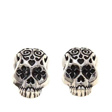 King Baby Jewelry Sterling Silver Day Of The Dead Skull Stud Earrings