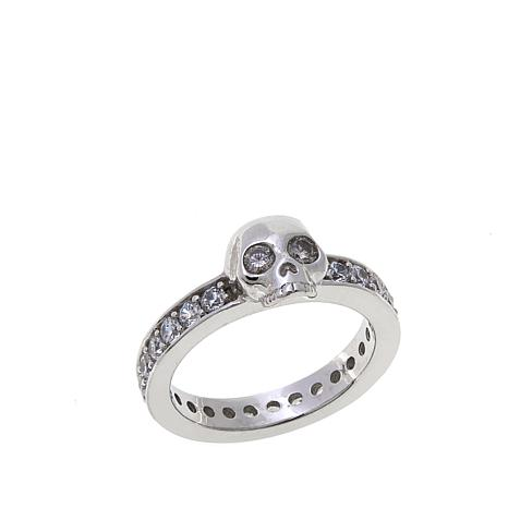 King Baby Sterling Silver Small Skull CZ Band Ring