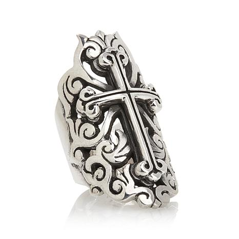 King Baby Sterling Silver Traditional Cross Ring