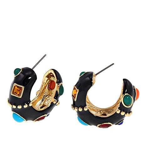 "KJL by Kenneth Jay Lane ""Firenze"" Cabochon Hoop Earrings"