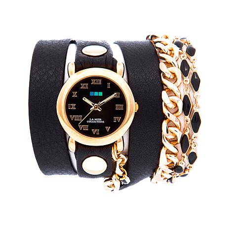 La Mer Black Magic Goldtone Black Leather Wrap Watch