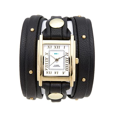 La Mer Goldtone Studded Black Leather Wrap-Design Watch