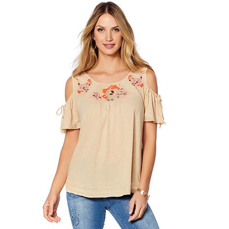 LaBellum by Hillary Scott Cold-Shoulder Embroidered Top