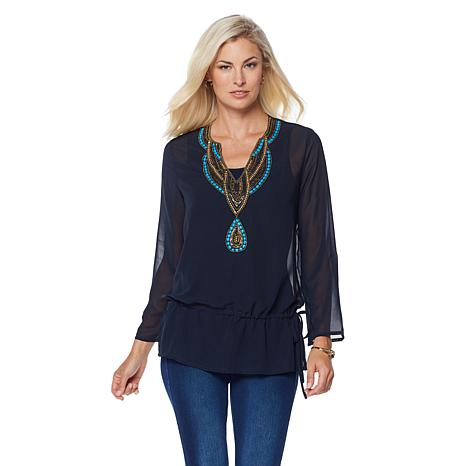 LaBellum by Hillary Scott Georgette Tunic with Beads