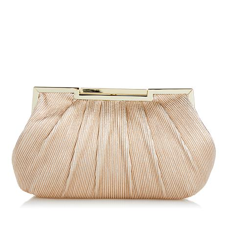 LaRegale Metallic Shimmer Pleated Clutch