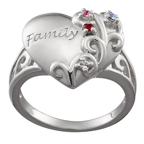 "Lasting Expressions Sterling Silver ""Family"" Birthstone Ring"