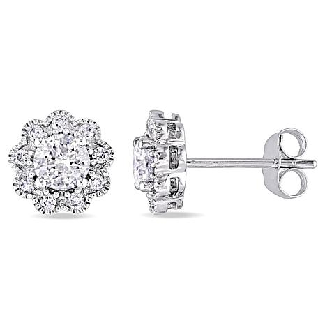Laura Ashley 0 99ctw Diamond 10k White Gold Flower Design Stud Earrings