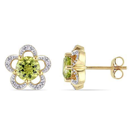 Laura Ashley 1.89ctw Peridot and Diamond 10K Earrings