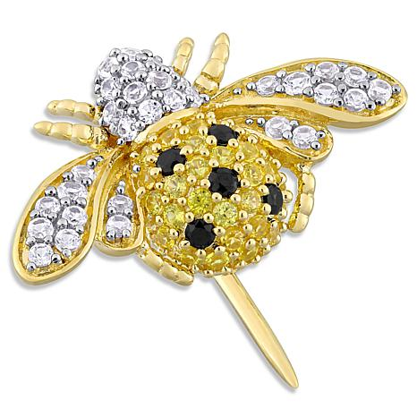 Laura Ashley Gold-Tone Multi-Color Created Multi-Gemstone Bee Broach