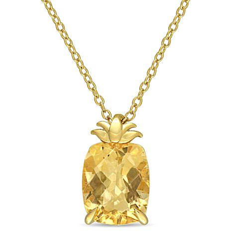 Laura Ashley Goldtone Sterling Silver Citrine Pineapple Necklace