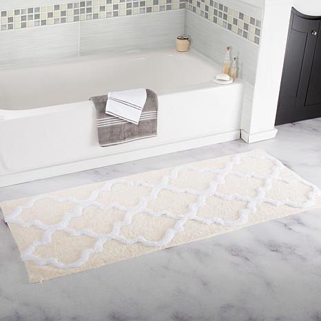 Lavish Home 100% Cotton Trellis Bathroom Mat - 2' x 5'