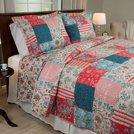 Lavish Home 3-piece Mallory Quilt Set - Full/Queen