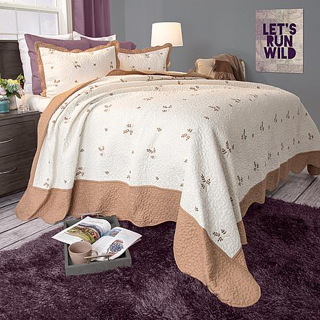 Lavish Home 3-piece Peyton Embroidered Quilt Set - King
