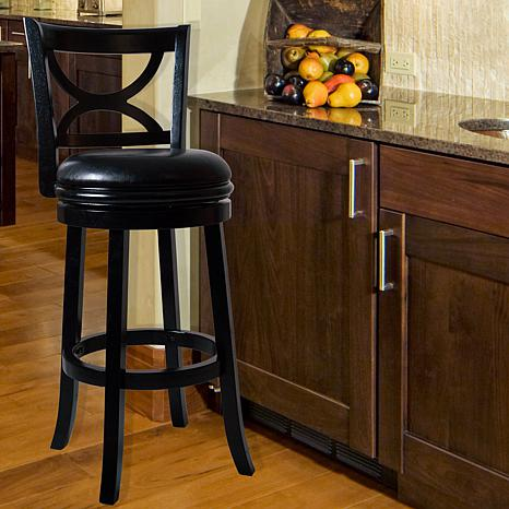 Lavish Home Wooden Swivel Bar Stool With Back 8360224 Hsn
