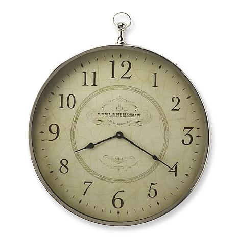 Le Blanc Nickel Finish Wall Clock in Silver